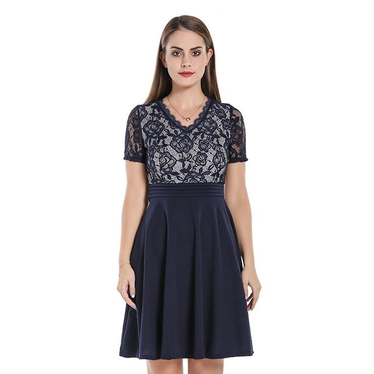 Fashion Floral Lace And Chiffon Spliced V Neck Short Sleeve High Waist Midi Dress N20064