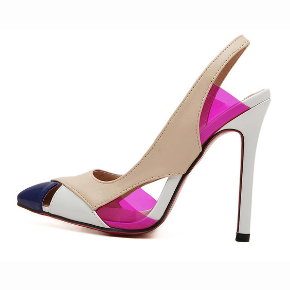 7bfa032cc New Fashion Apricot Leather Split Joint PU Pointed Toe High Heel Sandals  SWS20340