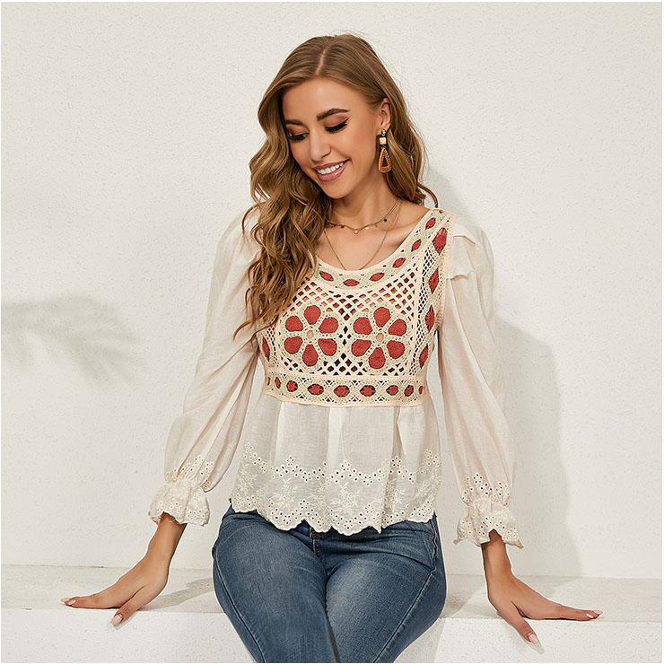 Retro Square Collar Long Lantern Sleeve Flowers Embroidery Hollow Lace Shirt N20931