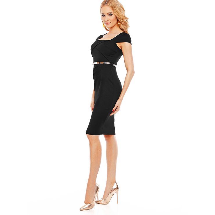Summer Bodycon Dresses for Women, Black Bodycon Dress, Office Bodycon Dress for Women, Fashion Dress for Women, Solid Color Dress, Office Lady Bodycon Dress, #N14572