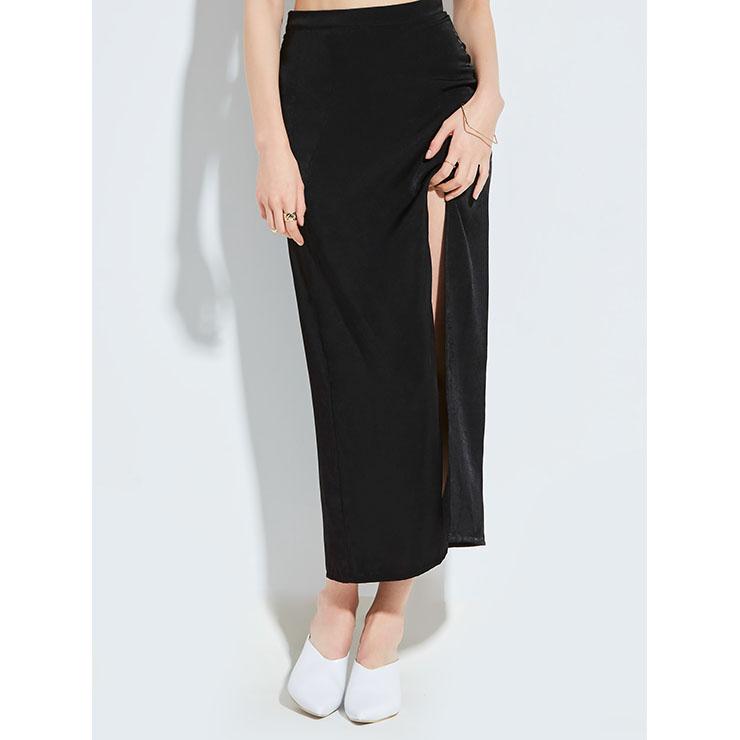 Fashion Street Style High Waist Split Plain Skirt N14263