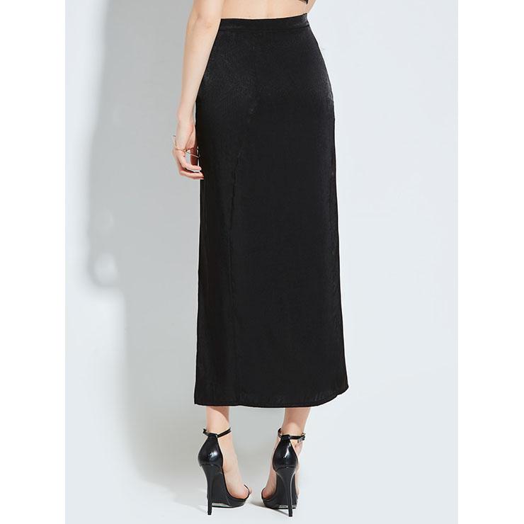 Fashion Black Skirt, Black Skirt for Women, Plain Black Skirt, Sexy High Waist Split Skirt, Split Skirt for Women, #N14263