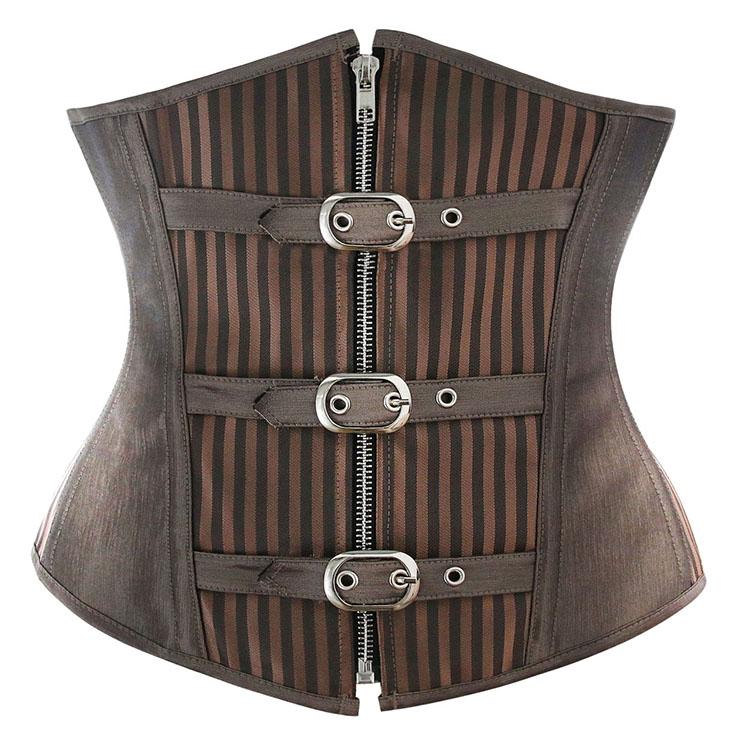 ad09dec4e05 Fashion Striped Brown Steampunk Steel Bone Zipper Underbust Corset N9792