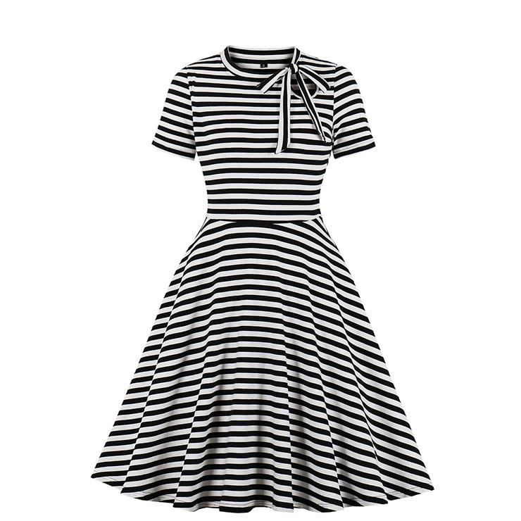 Fashion Black And White Striped Round Neck Short Sleeve High Waist Midi Dress N19808