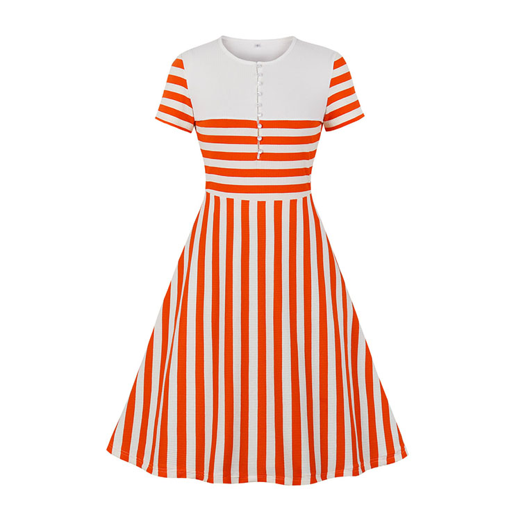 Fashion Orange And White Striped Round Neck Short Sleeve High Waist Knit Midi Dress N19942