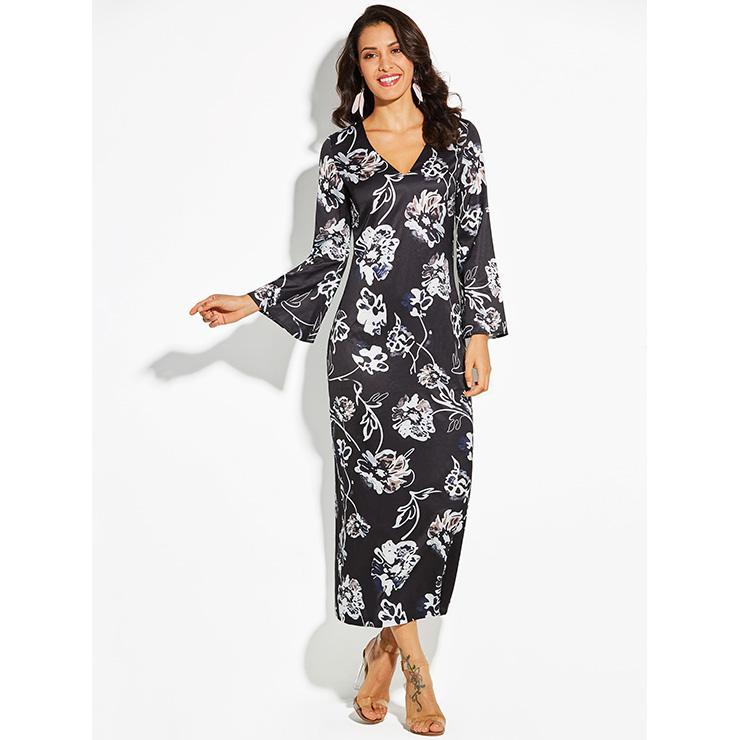 Women's Black V Neck Bell Sleeves Flowers Pattern Vacation Maxi Interesting Bell Sleeve Dress Pattern