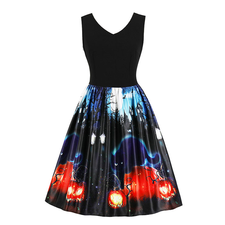 Fashion V Neck Sleeveless 3D Halloween Themed Print A-Line High Waist Dress N17747