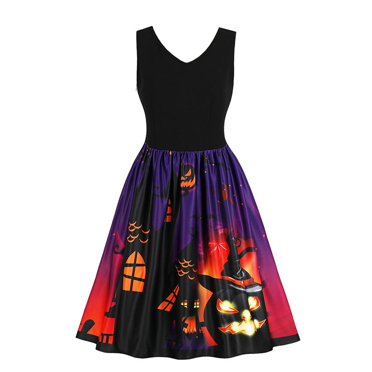 Fashion V Neck Sleeveless 3D Halloween Themed Print A-Line High Waist Dress N17749