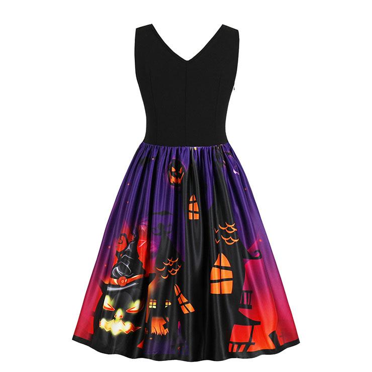 Vintage Dresses for Women, Cocktail Party Dress, Halloween Party Dress, Vintage Sleeveless Swing Dresses, A-line Cocktail Party Swing Dresses, Fahion Floral Print Vintage Dress, V Neck Vintage Day Dress, #N17749