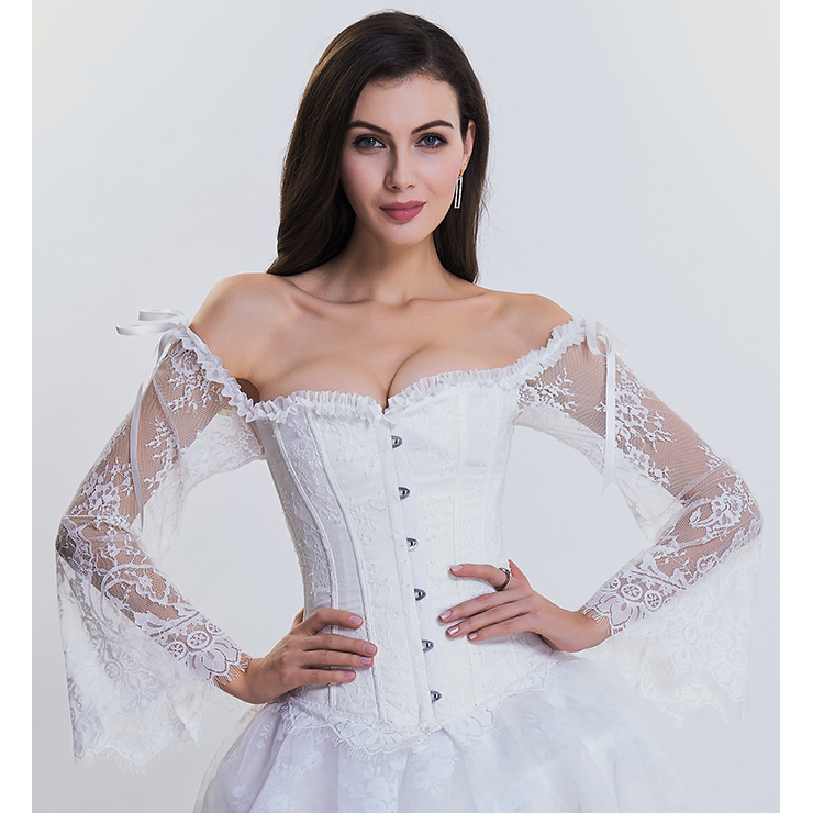 Women's Fashion Plastic Boned White Overbust Corset with Long Floral Lace Sleeve N14475