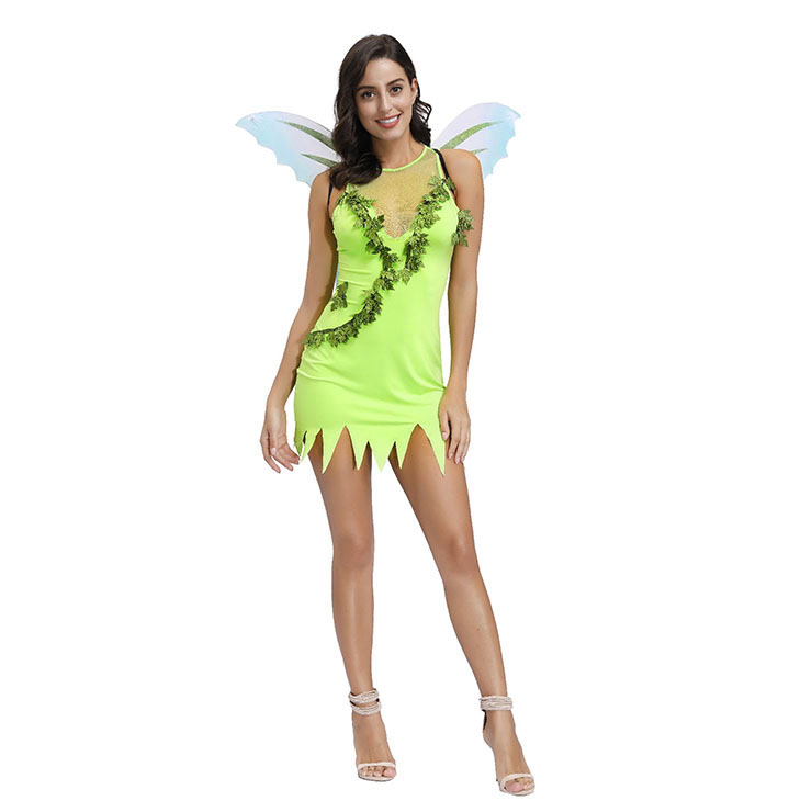 Fashion Wings Elf Girl Round Neck Stretchy Tank Mini Party Dress Adult Cosplay Costume N20493