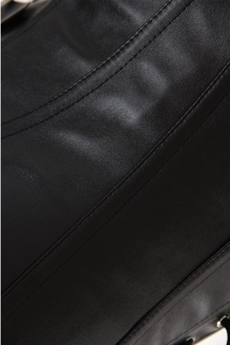 leather underbust corset, underbust corset, black leather underbust corset, #N2968
