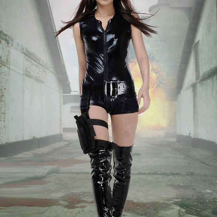 Sexy Adult Policewoman Costume, Sexy Black Faux Leather Jumpsuit, Fashion Policewoman Cosplay Costume, Sexy Black Leather Policewoman Costume, Sexy Jumpsuit Policewoman, #N16586
