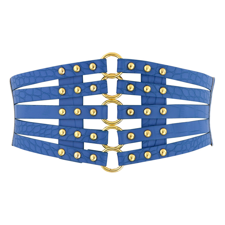 Women's Punk Faux Leather Metal Rings Rivets Decorated Girdle Wide Waist Belt N15386