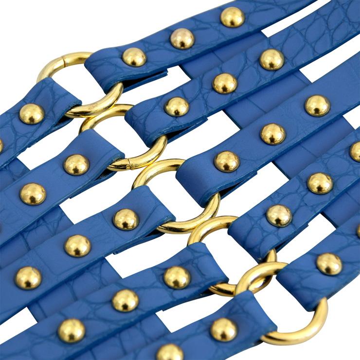 Punk Waist Belt, Metal Waist Belt, Vintage Waist Belt, Elastic Waist Belt, Waist Belt for Women, Wide Cinch Belt, Blue Girdle, #N15386