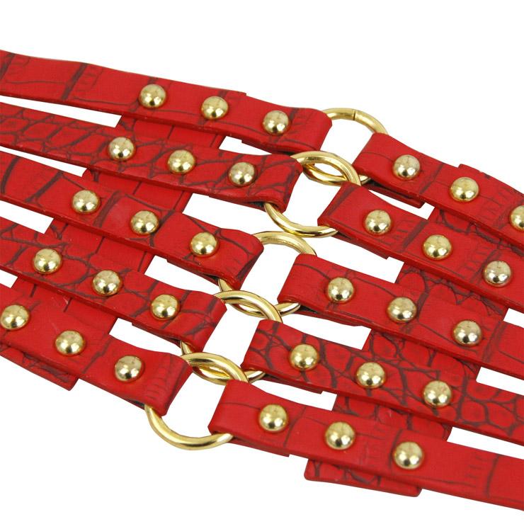 Punk Waist Belt, Metal Waist Belt, Vintage Waist Belt, Elastic Waist Belt, Waist Belt for Women, Wide Cinch Belt, Red Girdle, #N15387