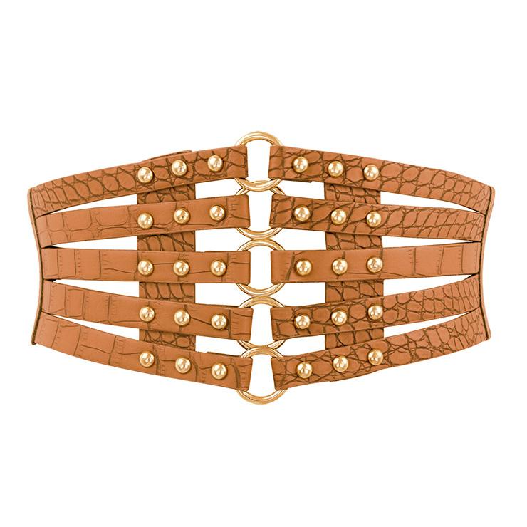 Women's Punk Faux Leather Metal Rings Rivets Decorated Girdle Wide Waist Belt N15389