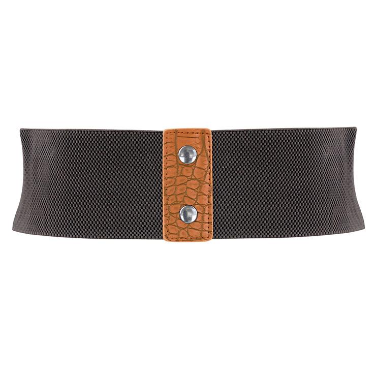 Punk Waist Belt, Metal Waist Belt, Vintage Waist Belt, Elastic Waist Belt, Waist Belt for Women, Wide Cinch Belt, Brown Girdle, #N15389