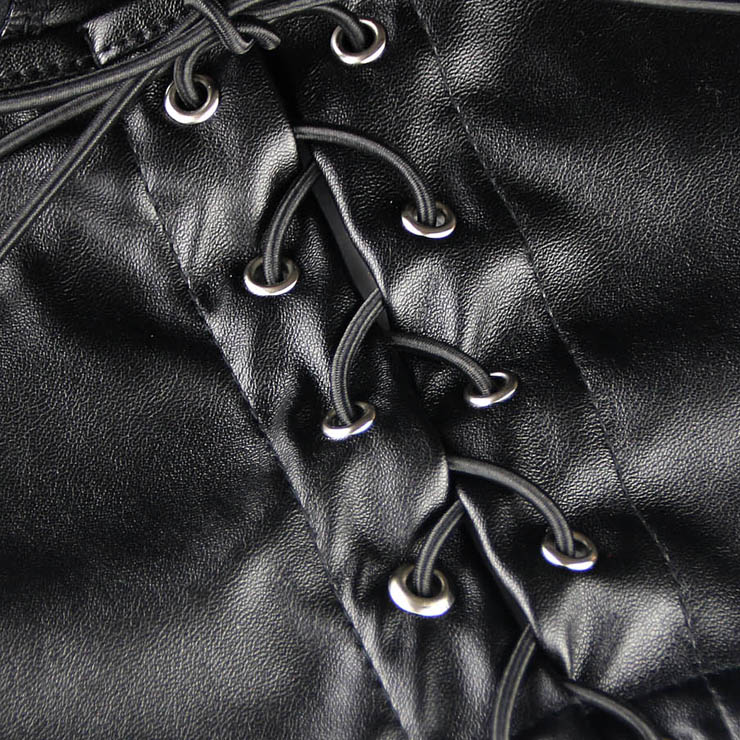 Faux Leather Fetish Mini Skirt, Sexy Open Hip Leather Skirt, Black Spanking Leather Skirt, #HG9112