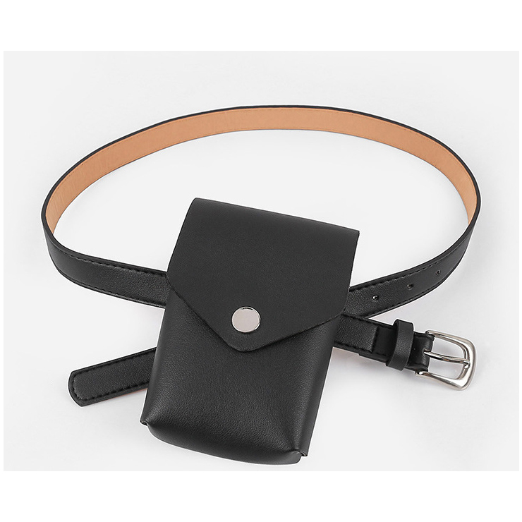 Fashion Black Faux Leather Waist Belt with Removeable Pouch Travel Waist Belt N18202