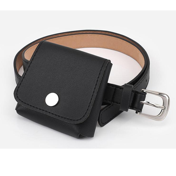 Fashion Black Faux Leather Waist Belt with Removeable Mini Pouch Travel Waist Belt N18203