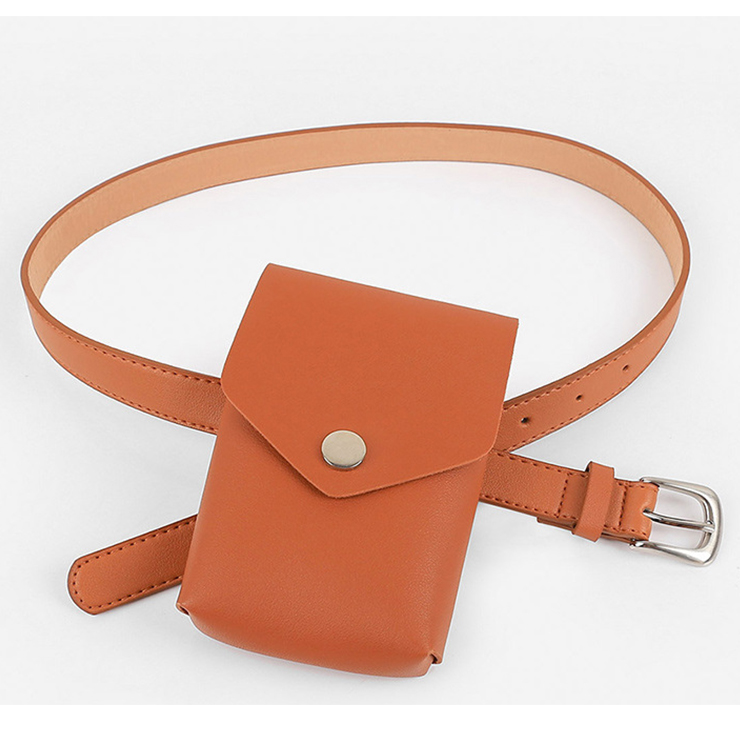 Fashion Brown Faux Leather Waist Belt with Removeable Pouch Travel Waist Belt N18204