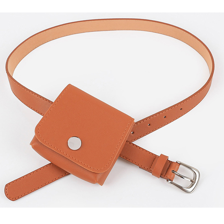 Fashion Brown Faux Leather Waist Belt with Removeable Mini Pouch Travel Waist Belt N18205