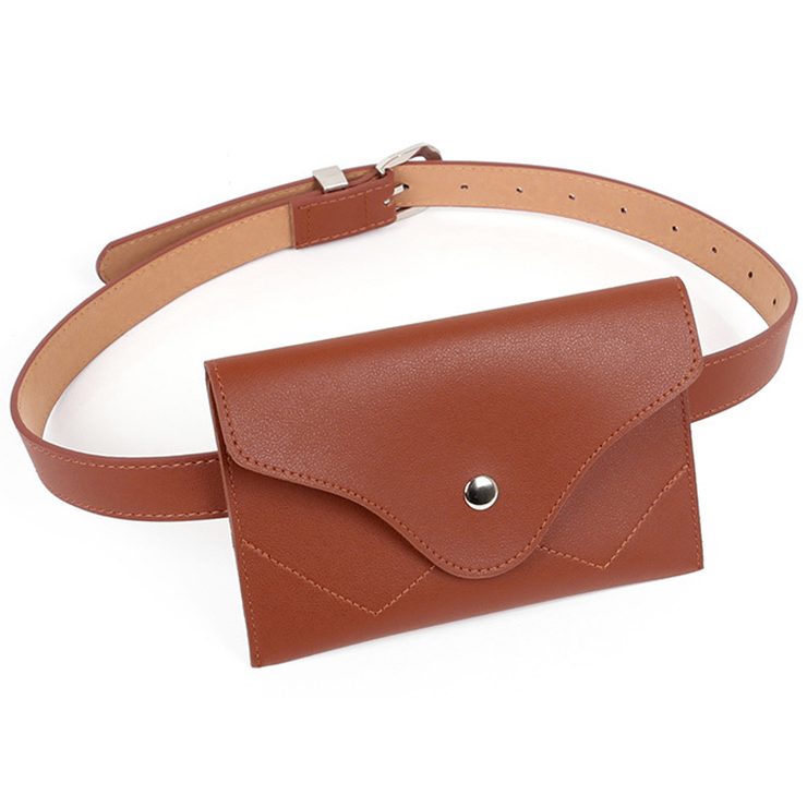Fashion Brown Faux Leather Waist Belt with Mini Purse Travel Cell Phone Bag N17472