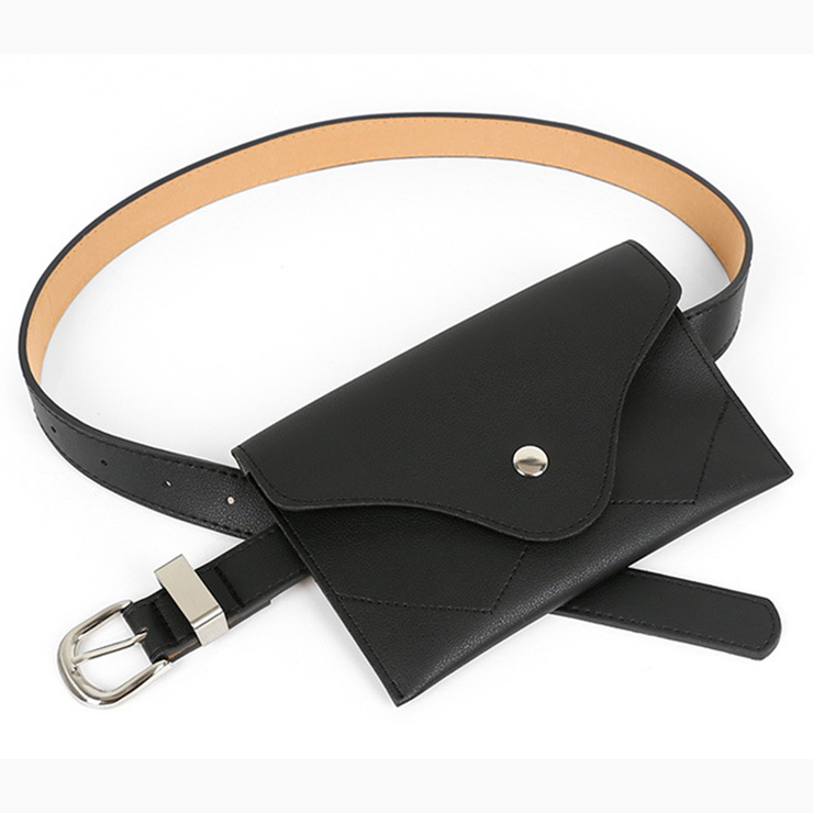 Fashion Black Faux Leather Waist Belt with Mini Purse Travel Cell Phone Bag N17473