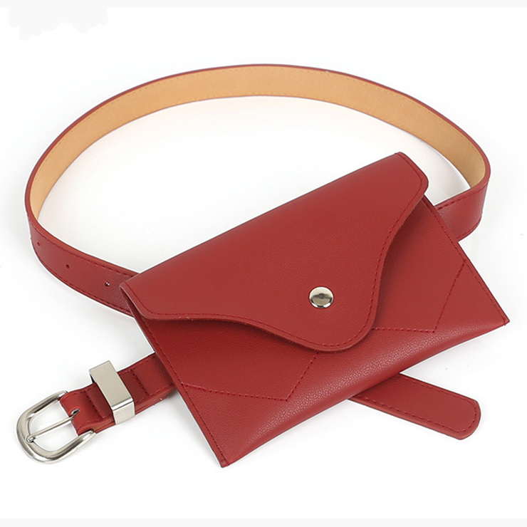 Fashion Brick Red Faux Leather Waist Belt with Mini Purse Travel Cell Phone Bag N17474