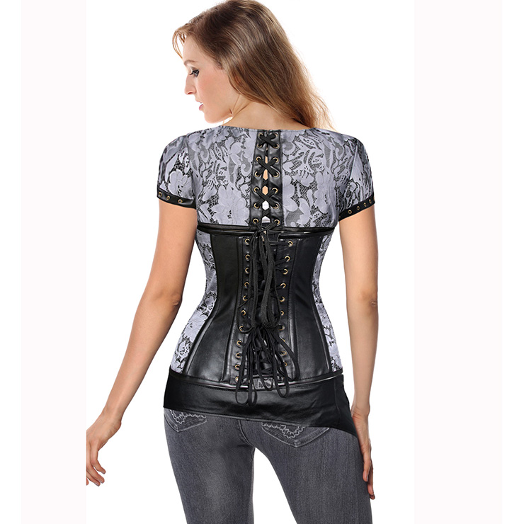 Silver and Black Faux Leather and Brocade Corset, Brocade corset, Steampunk corset, #N6371