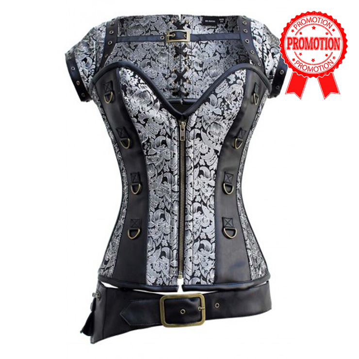 Faux Leather and Brocade Corset with Belt N6371