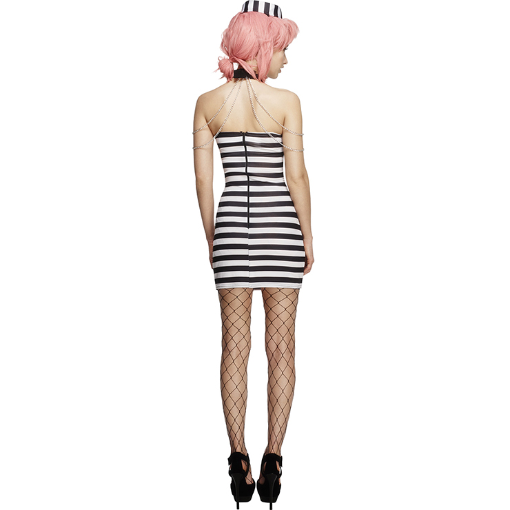 Heartbreaker Convict Costume, Sexy Prisoner Costume, Sexy Convict Dress and Hat, Criminal Costume, #N11785