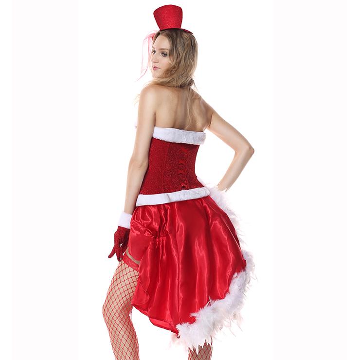 Fever Santa Baby Burlesque Costume, Burlesque Santa, Red Burlesque Outfit, Sexy Santa Baby Costume, Sexy Red-white Santa Costume, Sexy Red-white Plush Costume#XT6351