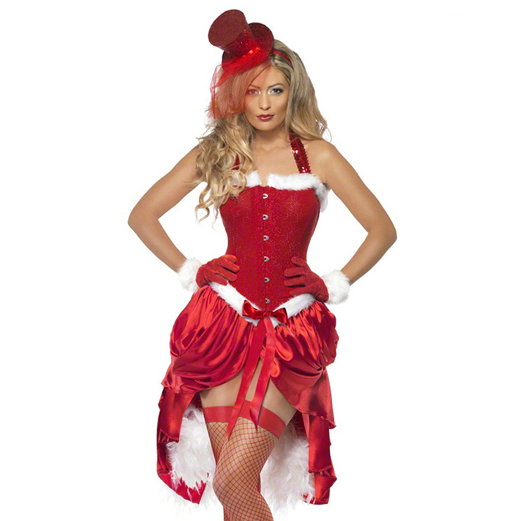 Red Santa Baby Corset Split Type Neck-up Costume Matching with  Hat and Gloves XT6351