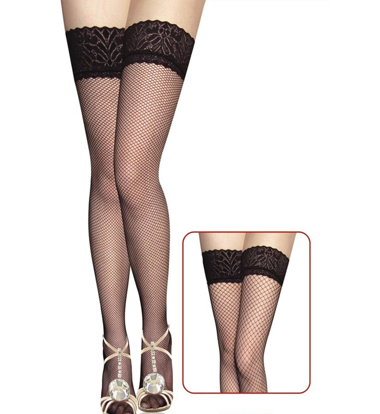Fishnet Lace Top Thigh High Stockings HG5868
