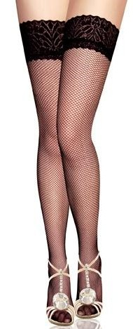 Fishnet Lace Top Thigh High Stockings, Classic Fishnet Thigh Highs, Classic Fishnet Lace Top Stockings, #HG5868