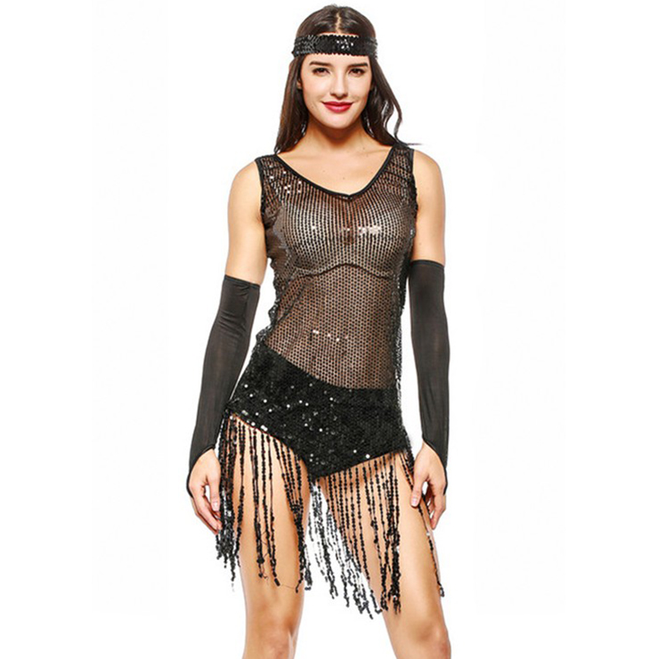 Club Pole Dancing Clothes Mini Dress, Sexy Clothes, Womens Sexy Club Wear, Vintage Flapper Girl Costume, Sexy Sequin Disco Dancing Clothes, Sequin Party Dancing Dress, #N20119