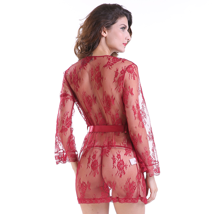2da49ead9ff Sexy Sheer Floral Lace Flare Sleeve Thin Nightgown Bathrobe with ...