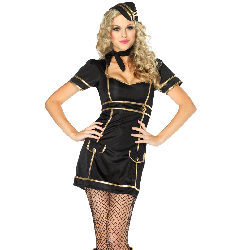 Sultry Stewardess Mini Dress Cosplay Costume with Hat N2436