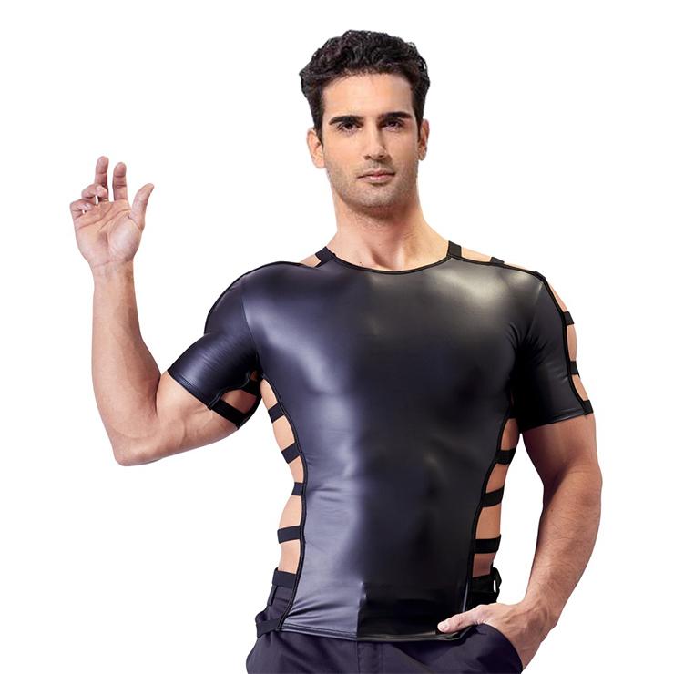 Men's Flirty Black PU Short Sleeve Tight Clubwear Shirt N17733