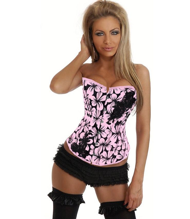 Floral Design Corset Pink N1356