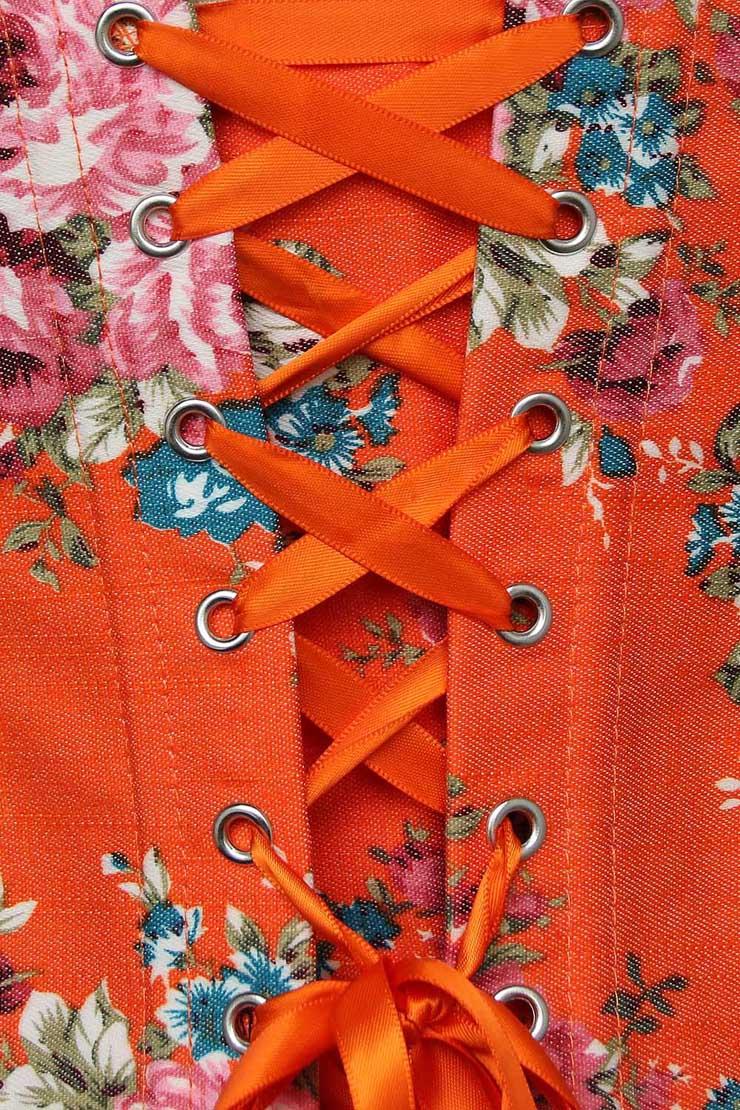 Denim Corset, Orange Corset, Floral Fantasy Denim Corset, #N5043