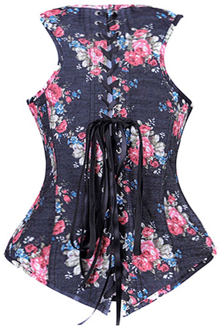 Floral Fantasy underbust corset, Halter top underbust corset, underbust corset, #N1237