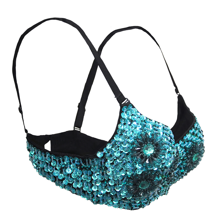 Blue Floral Studded Bead Bra Top, Sequin B Cup Bra Top, Blue Floral Studded Bead and Sequin Bra, #N12011