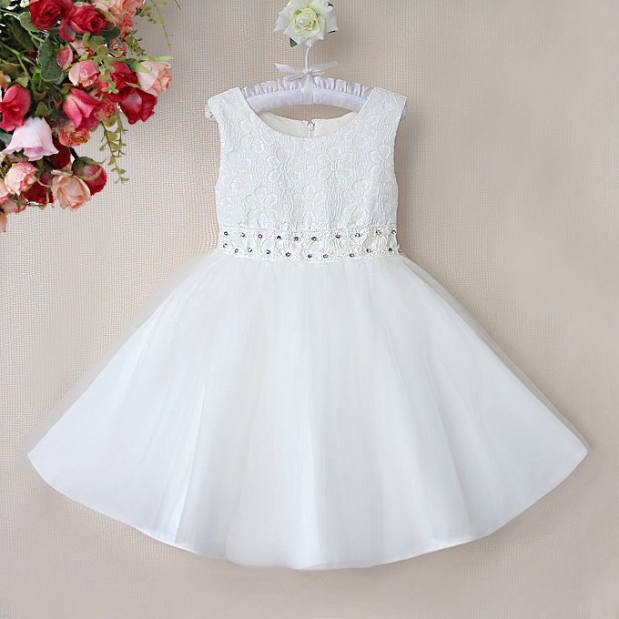 Rhinestone Belt White Dress, Sleeveless Flower Lace Princess Dress, Tulle and Lace Party Dress, #N9117