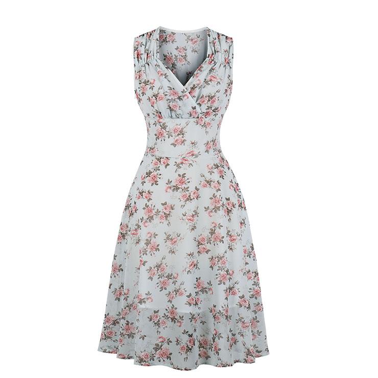 Fresh Chiffon Floral Print Pleated V Neck Sleeveless High Waist Summer Day Dress N20514