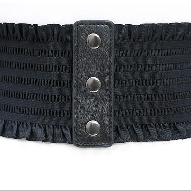 f246128d2c9831 Fashion Leather Frill Front Lace-up Elastic Wide Girdle Dress Belt N14801