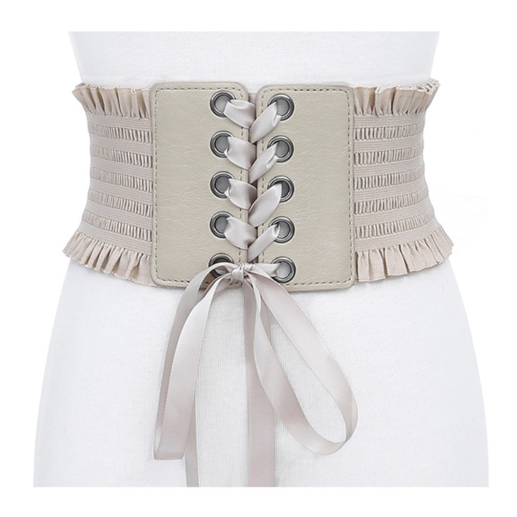 ef41328b99ccd Fashion Leather Frill Front Lace-up Elastic Wide Girdle Dress Belt N14802