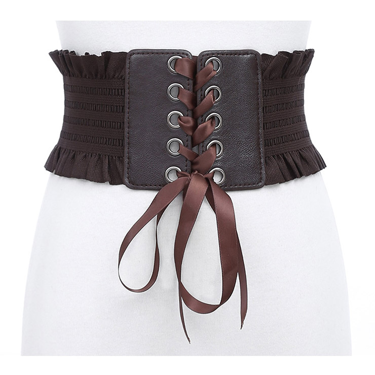b38b499522a7f Fashion Leather Frill Front Lace-up Elastic Wide Girdle Dress Belt N14804